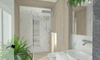 sypialnia małżeńska z prysznicem